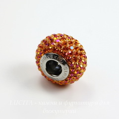80101 Бусина Сваровски BeCharmed Pave Crystal Astral Pink 14х9 мм