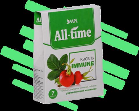 APL. Кисель витаминизированный  All-Time Immune с укрепляющим комплексом и Биофеном 7 пакетиков по 20 граммов