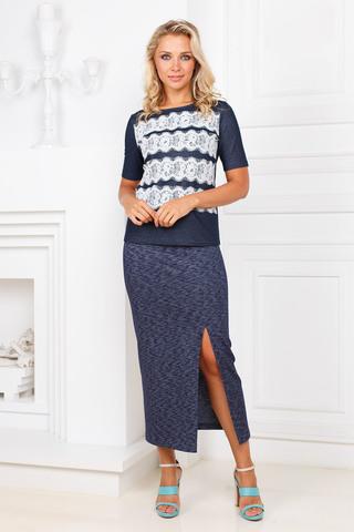 Фото повседневная синяя юбка длины миди с разрезом - Юбка Б105-244 (1)