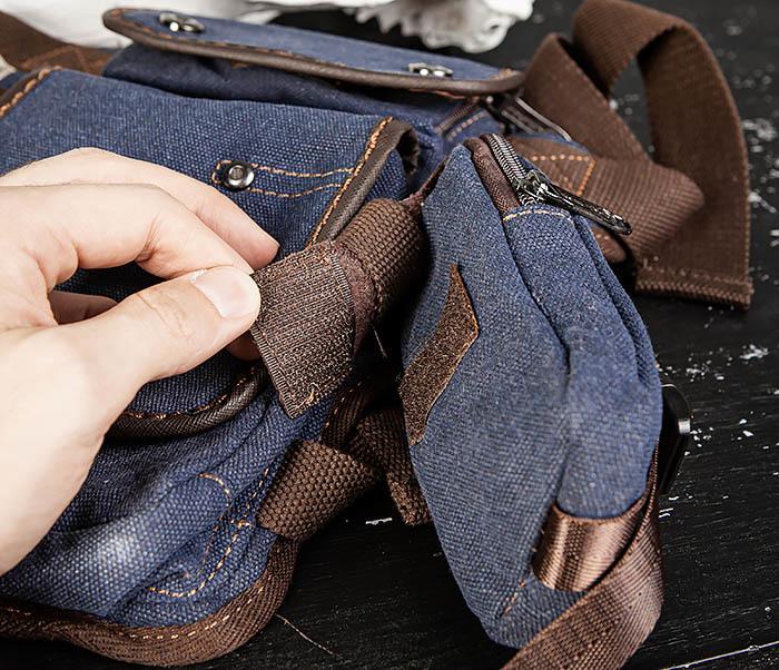 BAG507-3 Синяя набедренная сумка из плотного текстиля фото 12