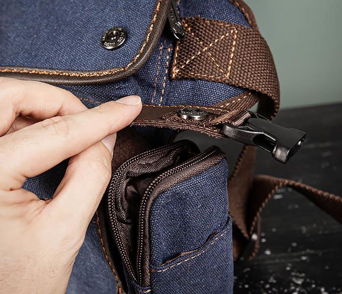 BAG507-3 Синяя набедренная сумка из плотного текстиля фото 13