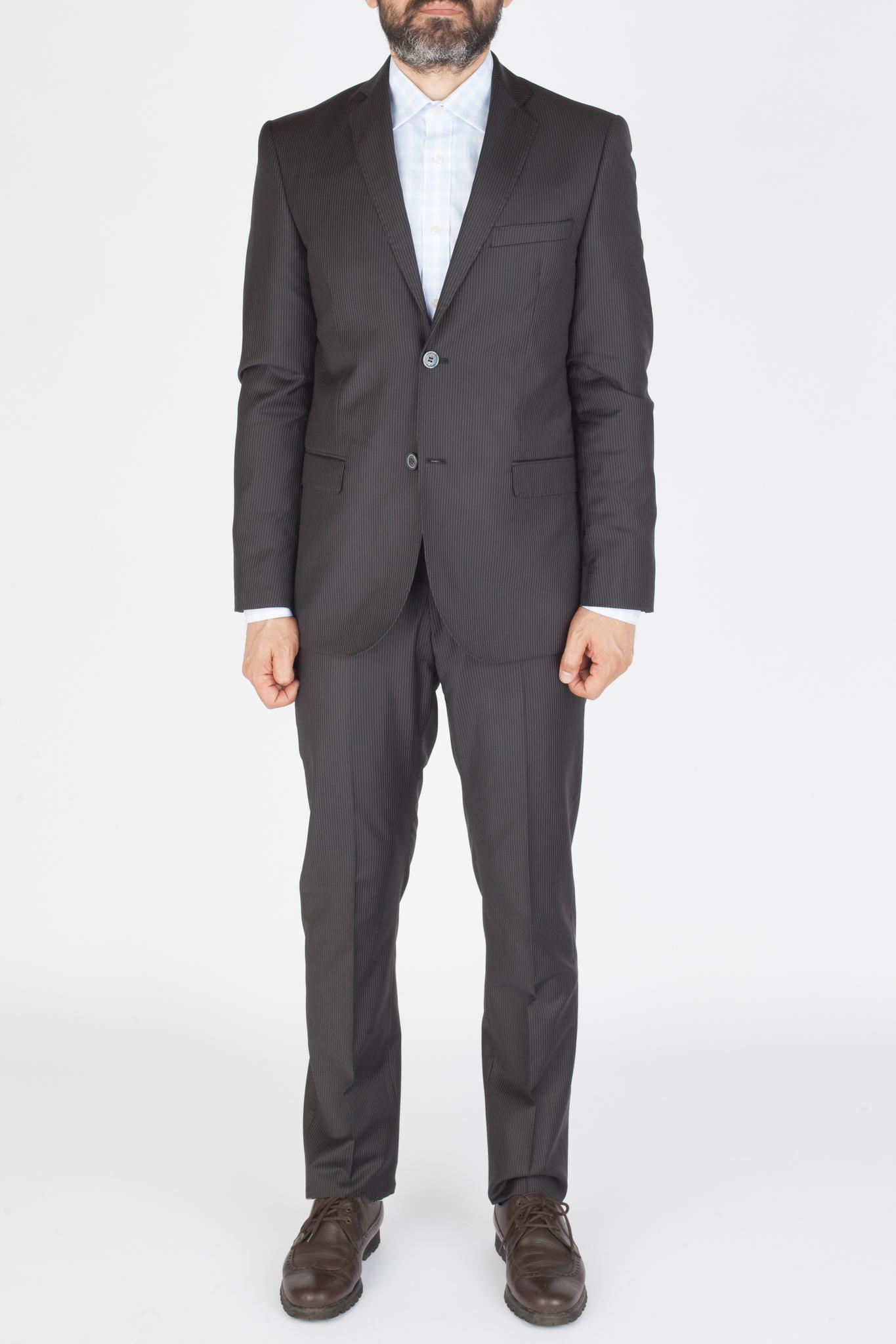 Тёмно-серый костюм в частую тонкую светлую полоску из 100%-ной шерсти