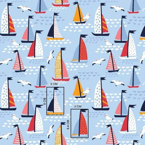 Ткань хлопковая. Кораблики на голубом