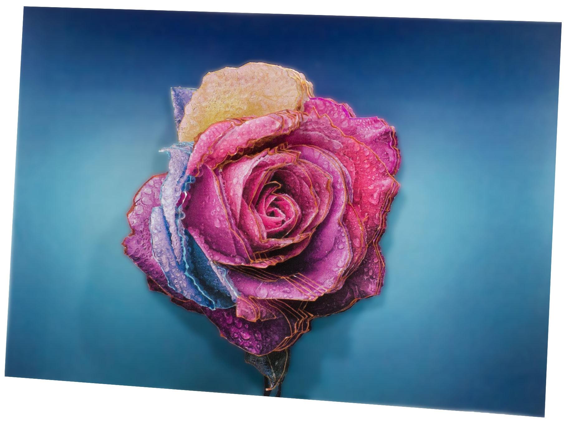 Папертоль Радужная роза — готовая работа, вид сбоку.