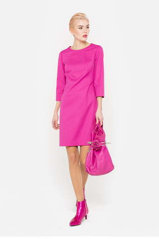 Фото розовое платье с укороченными рукавами полуприталенного силуэта - Платье З387-194 (1)