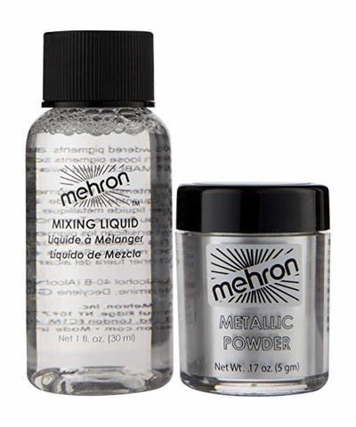 MEHRON Металлическая пудра-порошок Metallic Powder (5 г) с жидкостью для смешивания Mixing Liquid (30 г), Silver (Серебро)