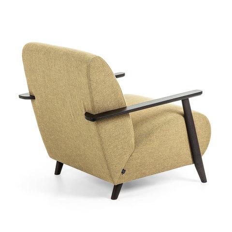 Кресло Marthan горчица подлокотники черные