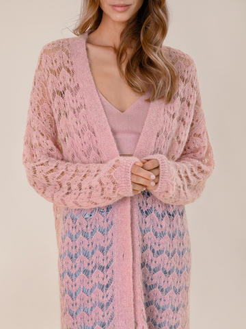 Женский кардиган светло-розового цвета - фото 5