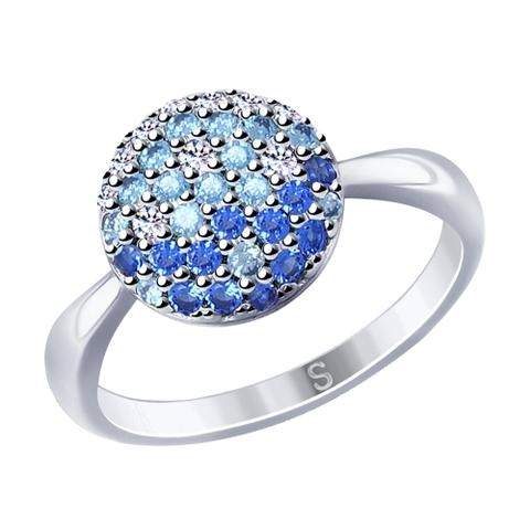 94012531- Кольцо из серебра с голубыми фианитами