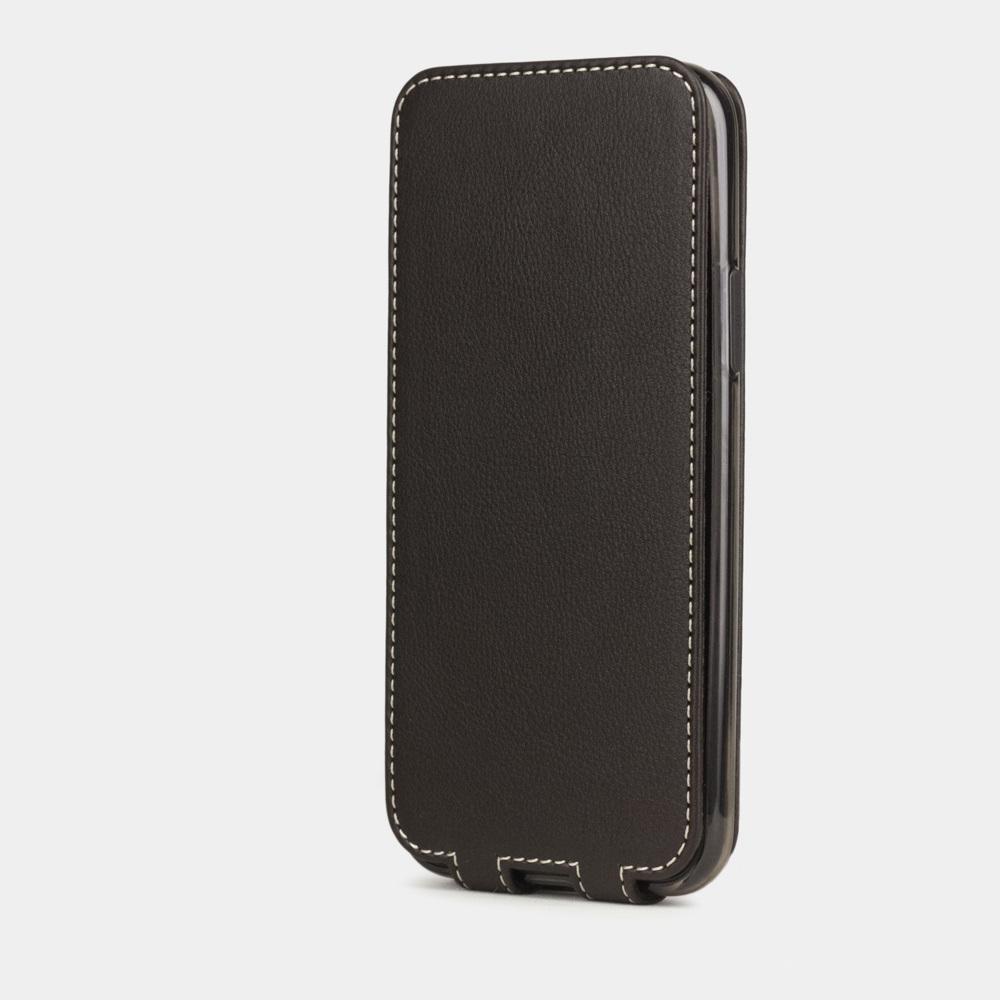 Чехол для iPhone 11 Pro Max из натуральной кожи теленка, темно-коричневого цвета