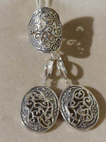 Кружево (кольцо + серьги из серебра)