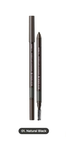 THE SAEM EYE Карандаш для бровей мягкий 01 Eco Soul Waterproof Soft Eyebrow 01 Natural Black 0,5гр