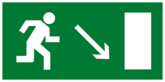 Е07 Эвакуационный знак - Направление к эвакуационному выходу направо вниз