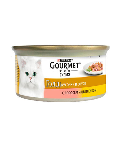 Gourmet Gold кусочки в соусе с лососем и цыпленком для взрослых кошек 85 г