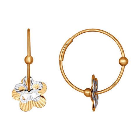021326 - Серьги-кольца из комбинированного золота с алмазной гранью