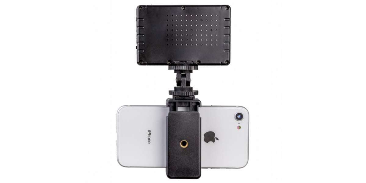Осветитель светодиодный Pictar Smart Light с держателем для смартфона вид сзади