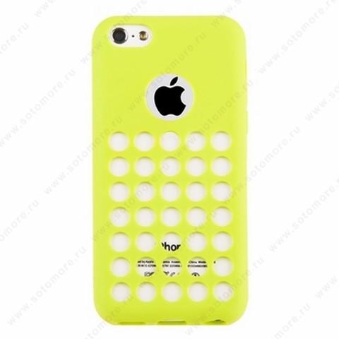 Накладка силиконовый TPU для Apple iPhone 5C с перфорацией зеленый
