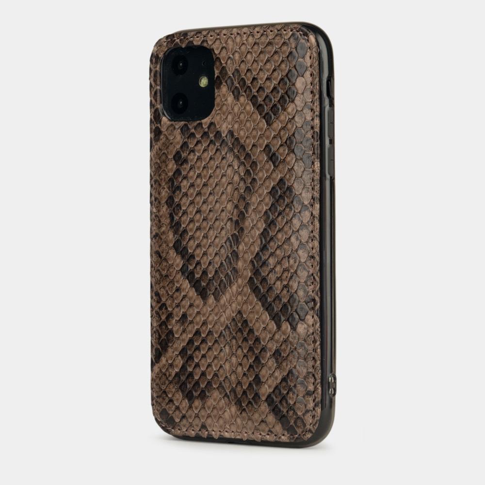 Чехол-накладка для iPhone 11 из натуральной кожи питона, бежевого  цвета
