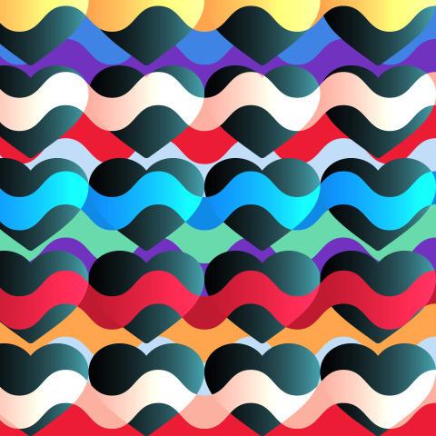 Разноцветные яркие волны и черные сердечки