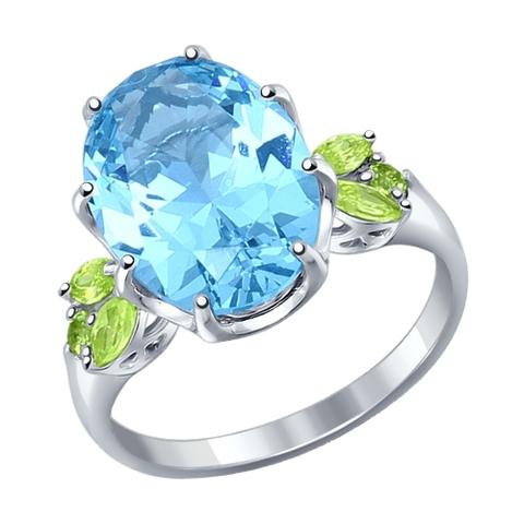 92011217- Кольцо из серебра с голубым ситаллом