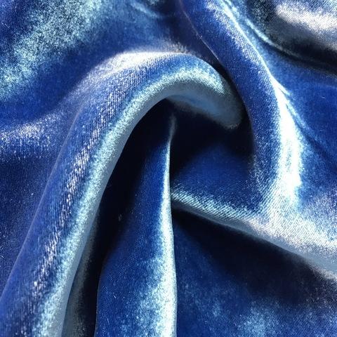 Ткань бархат  шелковый  синий цвет 3191