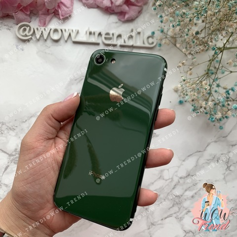 Чехол iPhone 7/8 Glass Silicone Case Logo /green/