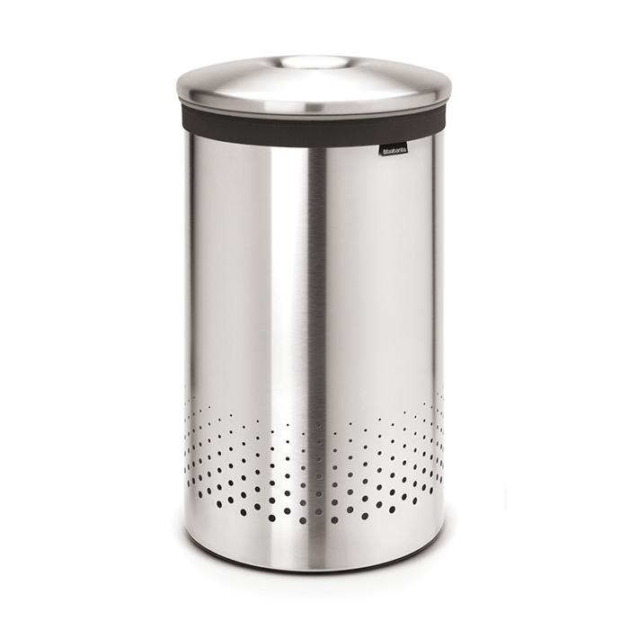 Бак для белья с металлической крышкой (60 л), Стальной матовый, арт. 105180 - фото 1