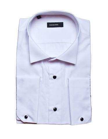 Сорочка белая мужская приталенная slim fit GIOBERTI под смокинг (носить с бабочкой)