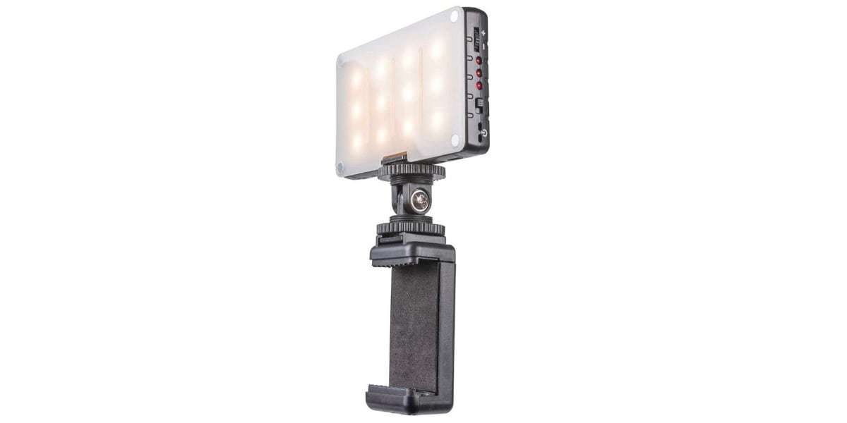 Осветитель светодиодный Pictar Smart Light с держателем для смартфона вид сбоку