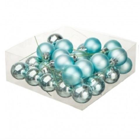Набор шаров елочных на проволоке 32шт. (пластик), D3см, цвет: голубой