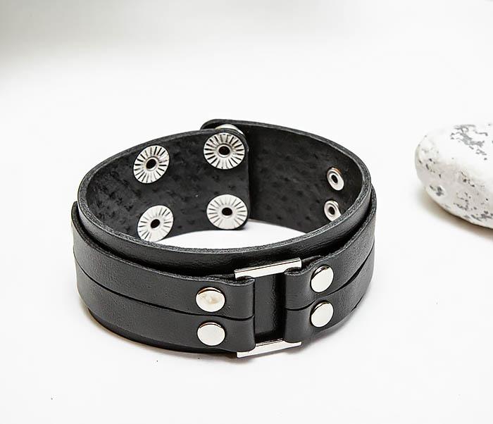BL798-1 Мужской браслет напульсник из черной кожи