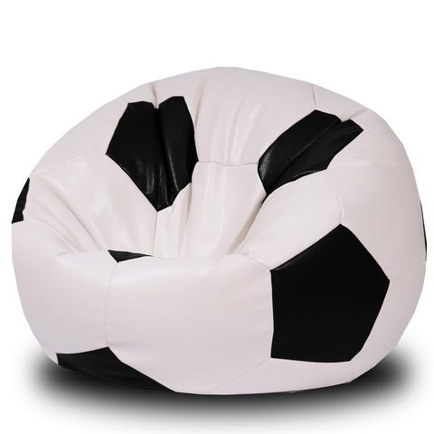 Кресло-мешок «Мяч» Бело-черный ЭКОКОЖА