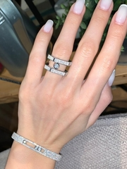 Кольцо Move широкое  из серебра с двигающимися цирконами