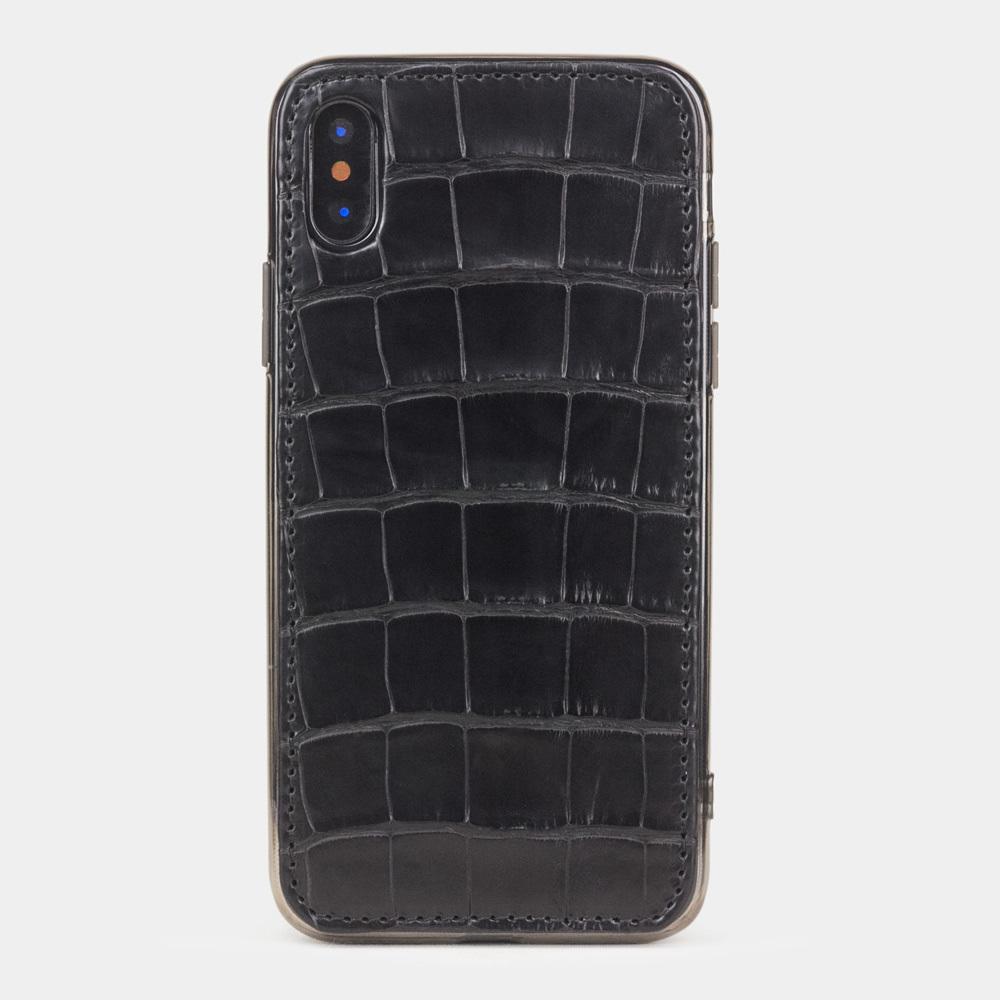 Чехол-накладка для iPhone X/XS из натуральной кожи крокодила, черного цвета