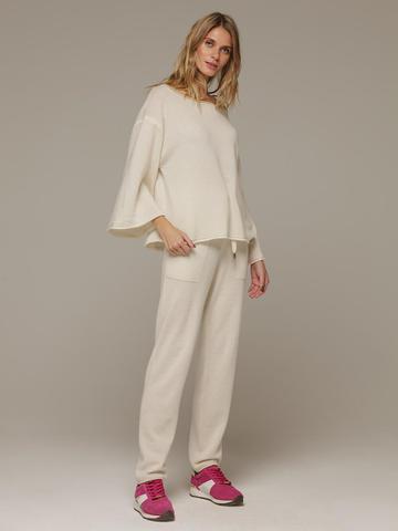 Женский белый джемпер свободного кроя из 100% кашемира - фото 4