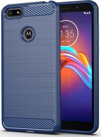 Чехол Motorola Moto E6 play цвет Blue (синий), серия Carbon, Caseport