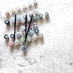 Картина раскраска по номерам 40x50 Натюрморт с ромашками за чашечкой чая