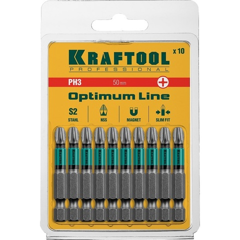 Биты KRAFTOOL Optimum Line, PH3, 50 мм, тип хвостовика E 1/4