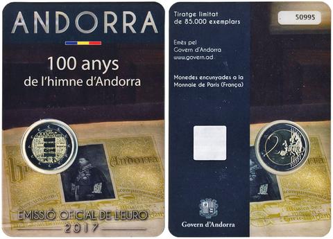 2 евро 2017 Андорра - 100 лет гимну Андорры