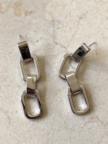 Серьги Бруади, серебряный цвет