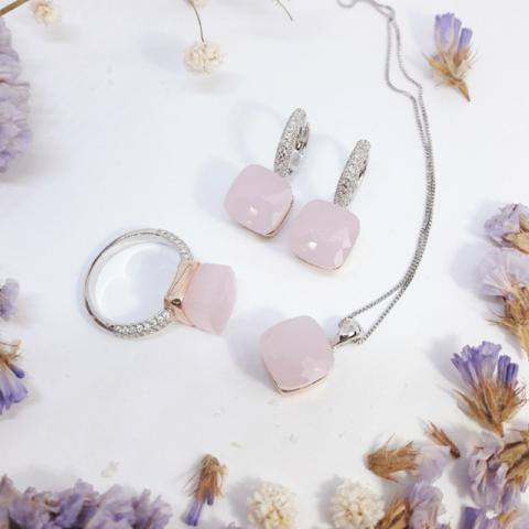 Комплект  из серебра с розовым кварцем 3 изделия