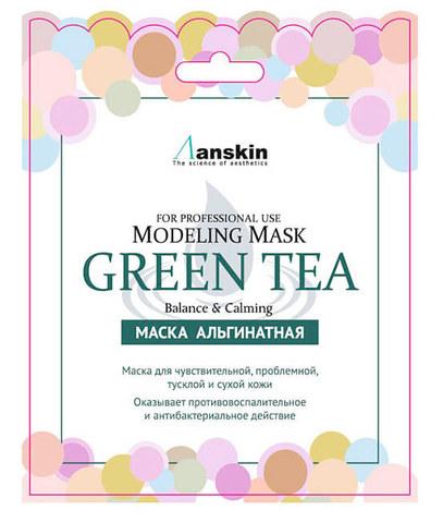 Успокаивающая альгинатная маска с экстрактом зелёного чая Anskin Green Tea Modeling Mask (саше)