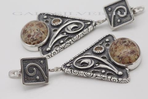 Серьги с яшмой из серебра 925