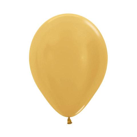 Латексный воздушный шар, цвет золотой, металлик