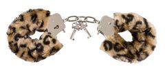Металлические наручники с леопардовым мехом Hand-schellen