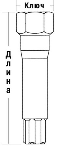 Ключ переходник 10-гранный длина=61мм ключ=17/19мм хром