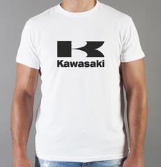 Футболка с принтом Кавасаки (Kawasaki) белая 009