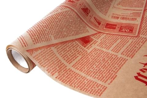 Бумага крафт 45гр/м2, 70см x 10м, Газета, красный