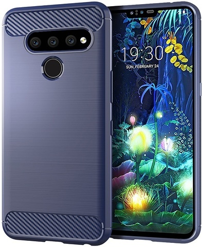 Чехол LG V50 ThinQ цвет Blue (синий), серия Carbon, Caseport