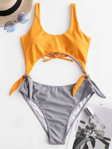 купальник слитный разноцветный желтый серый монокини завязки по бокам 1